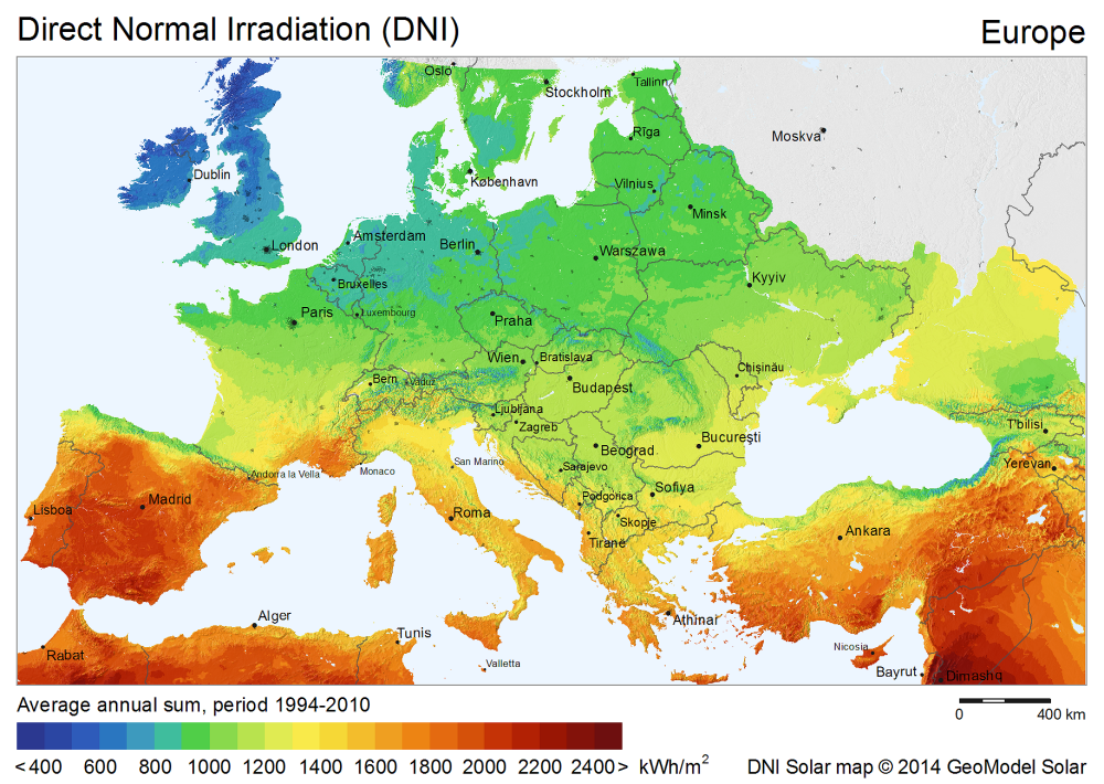 Globale Solarstrahlung Europa