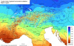 Solar radiation map Switzerland