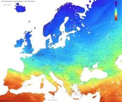 Solar radiation map europe