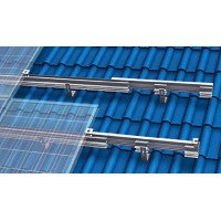 Mounting system for pitched roofs clamping system with roof hooks